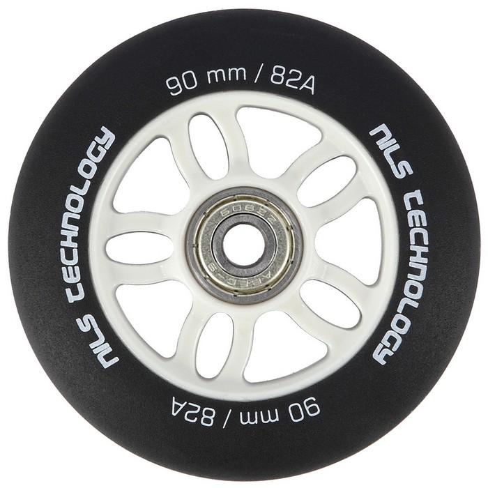 Kółka do rolek (4 szt.) PU 90mm/82A + łożyska (8 szt.) ABEC-9 CHROME NILS EXTREME Black Matt