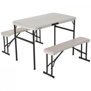Zestaw ogrodowy składany stół + 2 ławki 106cm 80352 LIFETIME Migdałowy