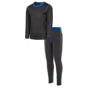Komplet termiczny chłopięcy Wełna Merino BAMBA TRESPASS Dark grey/Blue