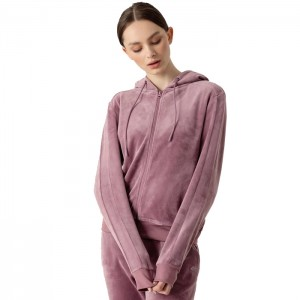 Bluza z kapturem welurowa damska H4Z21-BLD024 52S 4F