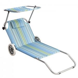 Leżak plażowy składany z daszkiem 2w1 NC3330 NILS CAMP